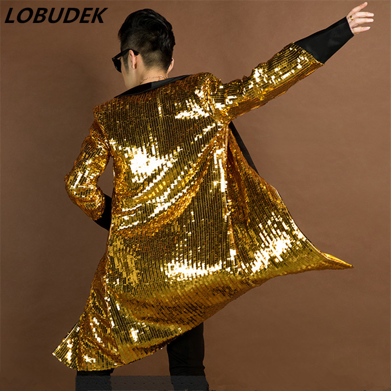 <font><b>green</b></font> gold <font><b>men</b></font> long blazer <font><b>jacket</b></font> overcoat outwear male singer dancer performance <font><b>sequin</b></font> dress prom ds party show bar nightclub image