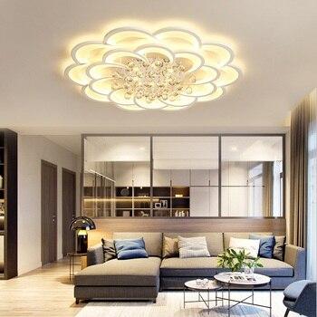 Moderne blume kristall Led-deckenleuchten wohnzimmer studie ...