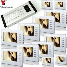 YobangSecurity White 7 Inches Color Wired Video Doorbell Door Chime,Rainproof Door Phone For 12 Units Villa Apartment Intercom
