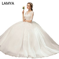 LAMYA Real Photo Cheap Half Lace Sleeve Wedding Dresses Pregnant Vintage O Neck Wedding Gown Ball Gown Plus Size Bride Dress