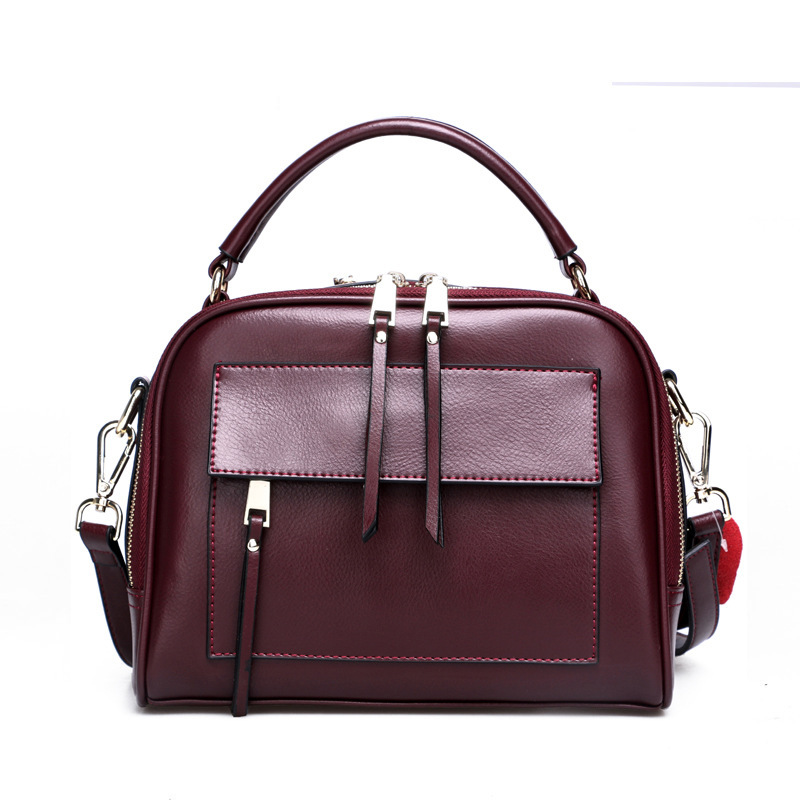 Luxury Design Genuine Leather Square Bag Ladies Shoulder Bag Double Zipper Double Layer Inner Bag Women Locomotive Messenger Bag