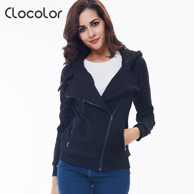 Clocolor women coat Solid Color Hooded Jacket Long Sleeve Women's Hoodie Zipper Fall Winter women coat