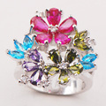 Garnet Amethyst Blue Simulated Topaz Peridot Women 925 Sterling Silver Ring F711 Size 6 7 8 9 10