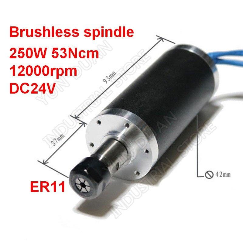 250 Вт 53Ncm 12000 об./мин DC 24 В бесщеточный шпиндель 42 мм Мотор ER11 цанги для ЧПУ сверлильный фрезерный резной металл пластик деревянная работа