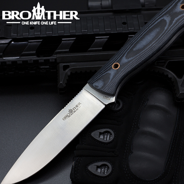 [BROTHER F001] Fixed Blade knife  Bushcraft Survival Straight knife Tactical Hunting Camping Handmade high quality EDC tool 1