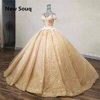 Золотое вечернее платье с блестками пышные платья с бисером аппликация с плеча длинное платье для выпускного вечера vestidos de 15 сладкий 16 плат