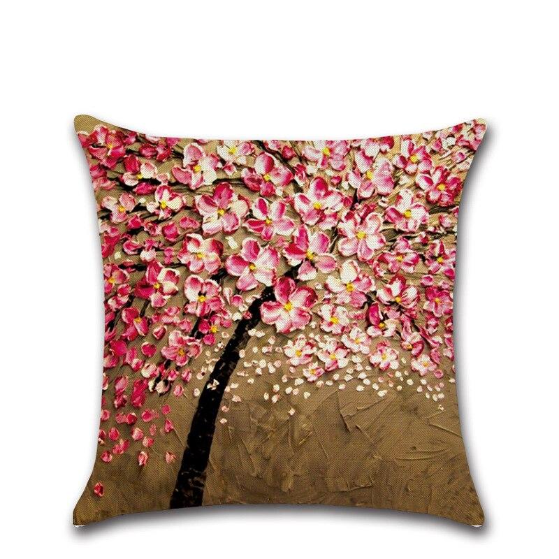 Nouveau Staly Arbre Et Fleur Salon Mignon de Haute Qualité 3D Coton Lin Coussin Santu Dea 45*45 cm OM3029