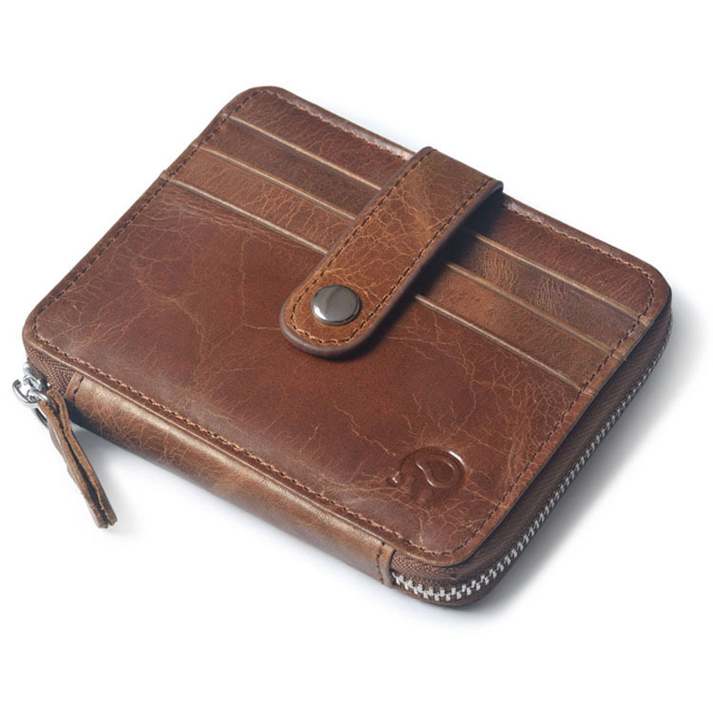 Vintage Genuine Leather Men's Wallet Cash Dollar Zipper Purse Credit&ID Card Holder Multi-functions Men&Women men vintage wallet pu leather dollar