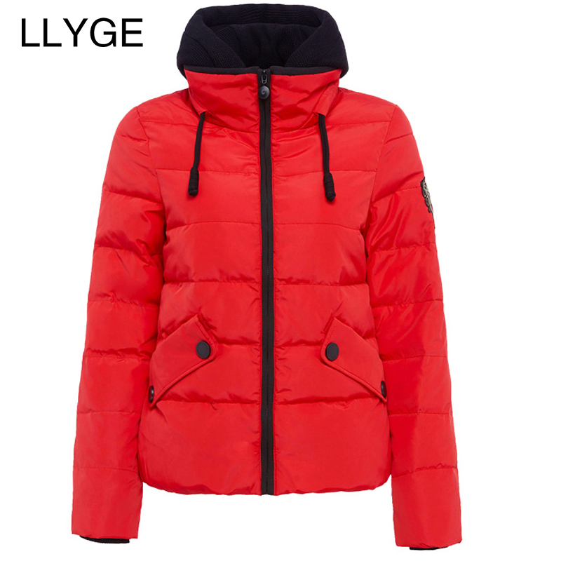 LLYGE Plus Size Winter Jacket Women Hooded Short Coat Fashion Slim Wadded Jacket Outwear Thick Warm Parka Inverno Chaqueta Mujer 2017 new wadded parka thick floral jackets women winter coat jacket abrigos mujer big size long over knee hooded outwear c2283