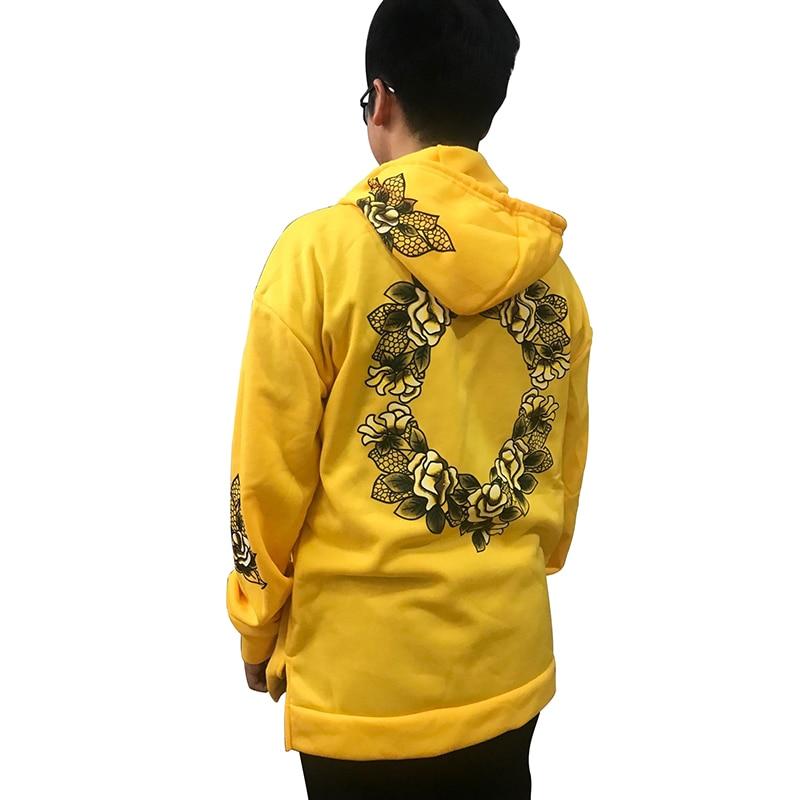 Hoodies Men Simple Print Floral Hooded Pullover Street Fashion Cotton Streetwear