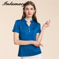 The New 100 REAL Silk Knit Short Sleeved T Shirt Collar Female Silk Pure Thin Coat