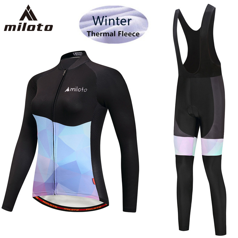 MILOTO Cycling Set Winter Thermal Fleece Long Sleeves Cycling Jerseys Long Pants Set Keep Warm Bicycle MTB Bike Cycling Clothing
