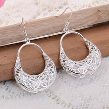Fashion Sterling Sliver Long Tassel Earrings Women Hollow Flower Long Dangle Earrings Hook Drop Earrings Jewelry Gift(China)