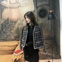 Женская одежда пальто женский короткий абзац решетки Новое короткое пальто весна и осень дикая клетчатая зимняя женская куртка