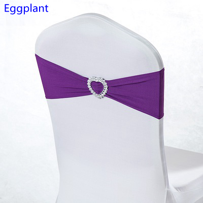 Plum Colour Lycra Chair Sash Heart Buckles For Wedding Chairs Decoration Spandex Band Stretch Bow Tie