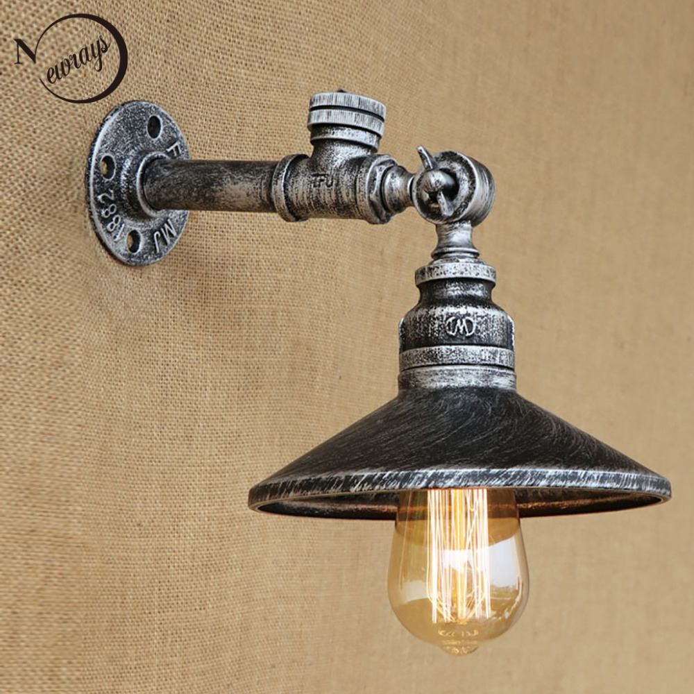 ФОТО 4 color Industrial loft iron rust Water pipe retro wall lamp Vintage e27 sconce lights with switch for  bedroom restaurant bar