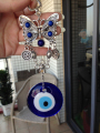Butterfly Turkish Blue Evil Eye Glass Charm Wall Hanging Amulet Nazar Boncuk Home Decoration Office Protector Arabic Nazar