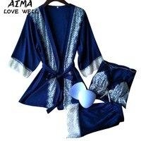Women Sexy Silk Satin Pajama Set Short Satin Bride Robe Lace Pyjama Set V Neck Sleepwear
