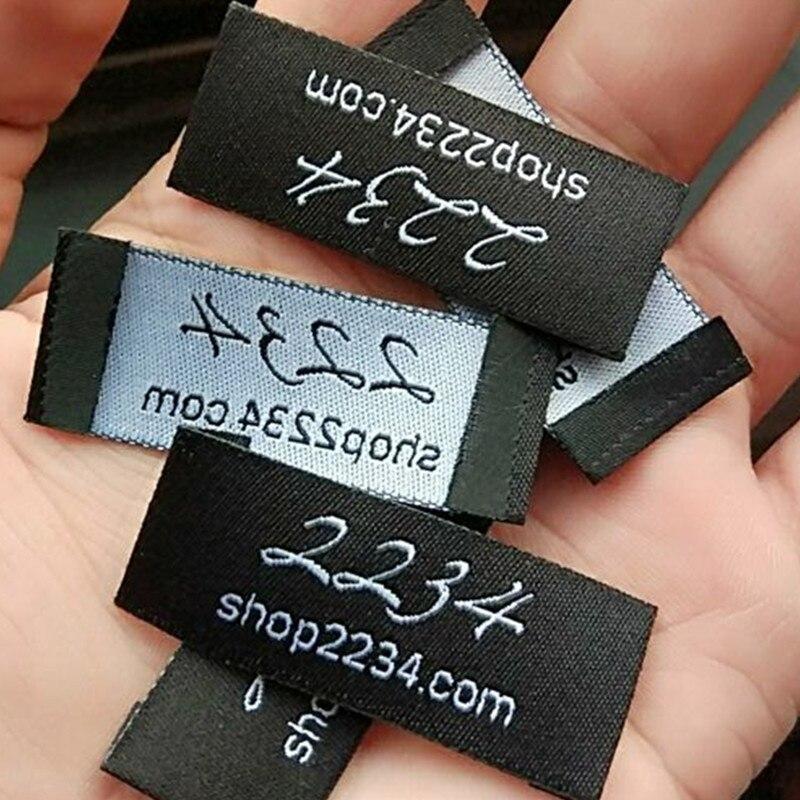 1000pcs 2 5 cm Custom shop name Italic Damask polyester cloth woven label