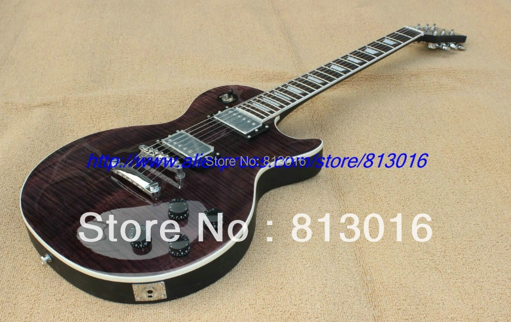 Whole sale Free shipping/with LP standard luxury gray color+tigerfalme body top scallop shape joined  Electric Guitar ! hot sale top quality white lp custom guitar with golden hardware electric guitar free shipping white color
