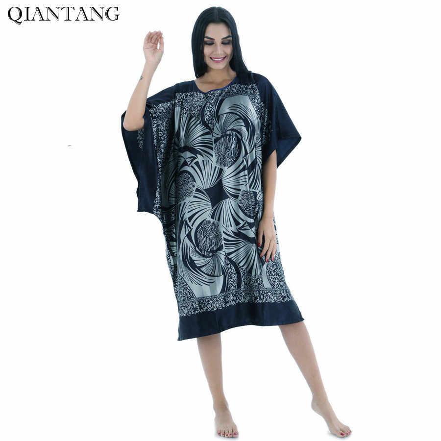 Большой размер, летний женский ночной халат из искусственного шелка темно-синего цвета, женская ночная рубашка, халат, одежда для сна, женская пижама с цветочным принтом, Zh13E