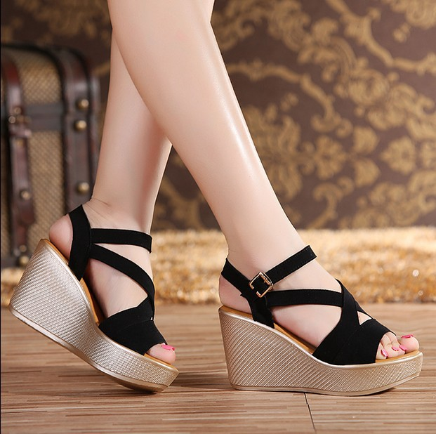 Women Sandals 2017 Summer New Open Toe Fish Head Fashion platform High Heels Wedge Sandals female shoes women platform shoes free shipping fashion 2017 new summer wedges platform sandals women black and white open toe high heels female shoes z596