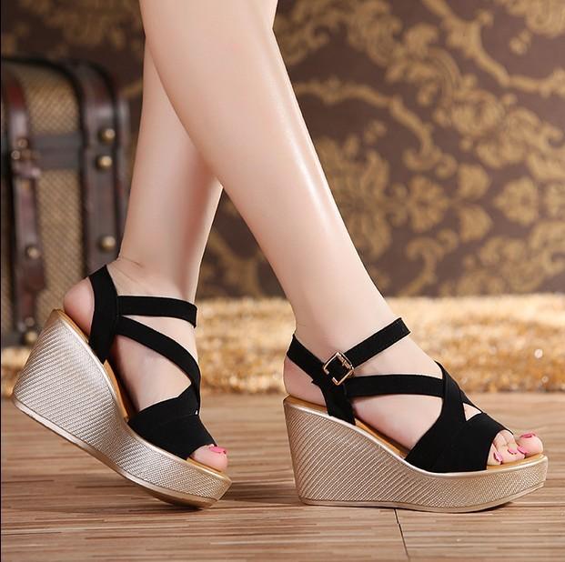 f8e902290242 Women Sandals 2017 Summer New Open Toe Fish Head Fashion platform High  Heels Wedge Sandals female shoes women platform shoes