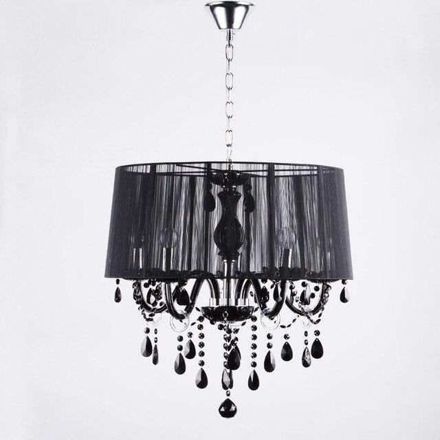 Lampu kristal modern dipimpin lampu putih hitam menggambar kap lampu chandelier e12 e14 dipimpin
