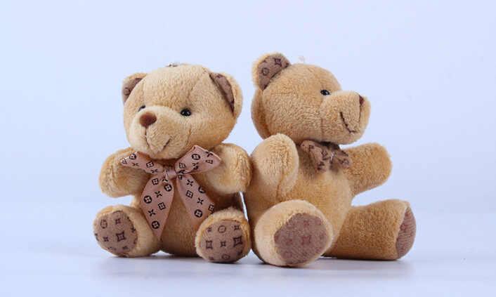 1 sztuk Hot 10CM Kawaii małe pluszowe misie pluszowe zabawki wypchane zwierzęta puszyste niedźwiedzie lalki miękkie zabawki dla dzieci