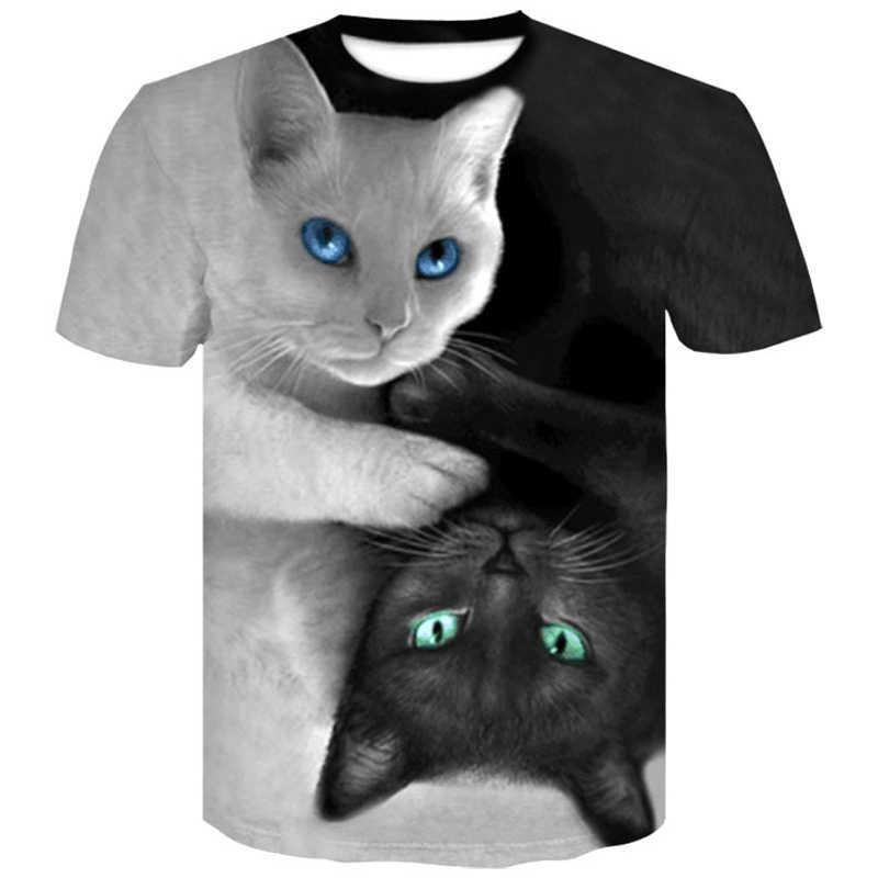 Новые летние различные тонкие черно-белые кошки футболки Волк 3D печать крутая футболка мужская с коротким рукавом плюс-Размер 4XL футболка