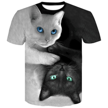 New Summer Various thin section black and white Cats T-shirt  Wolf 3D Print Cool Men Short Sleeve Plus-size 4XL