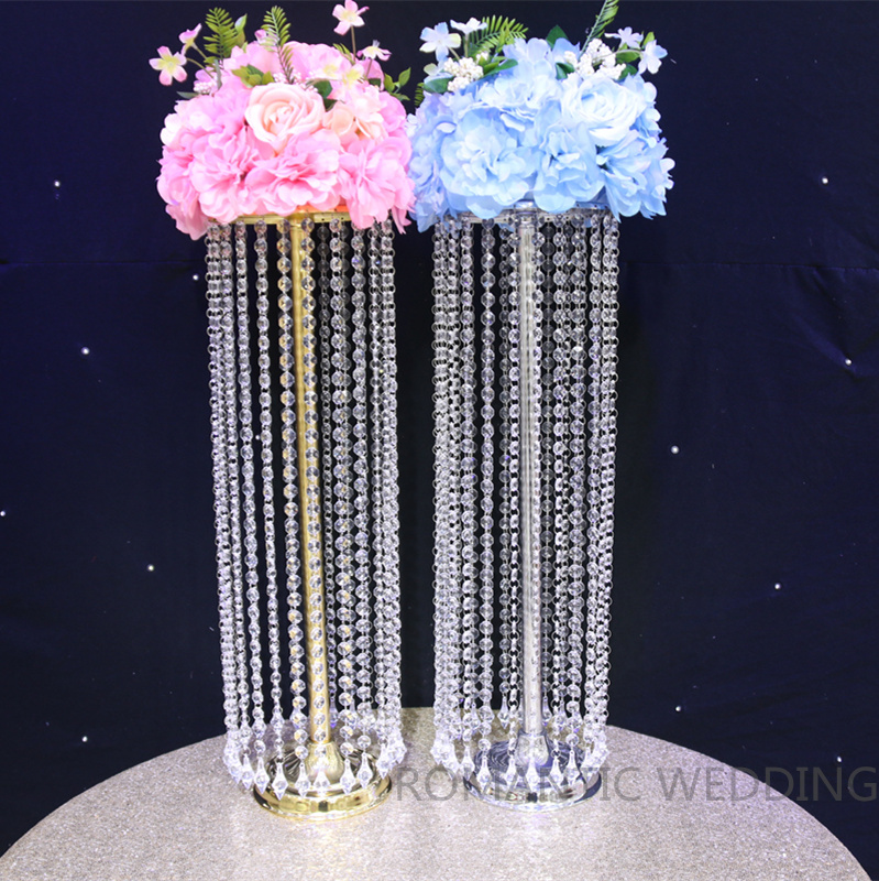 Home Decor Home & Garden Romantic 10 Pcs 60cm Tall Flower Stand Wedding Table Centerpiececs Sliver Crystal Stages Pillars For Wedding Centerpiece With Led