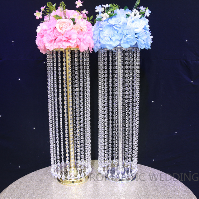 10PCS Lot Acrylic Crystal Wedding Centerpiece 275 Inch Tall Flower Stand Table Decor Supply