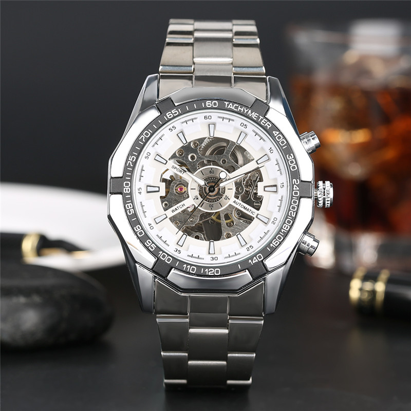Men's Self-Winding Mechanical Watches Silver/Gold Stainless Steel Automatic Skeleton Dial Analog Wrist Watch with Gift Box wilon all steel self winding mechanical wristwatch black silver