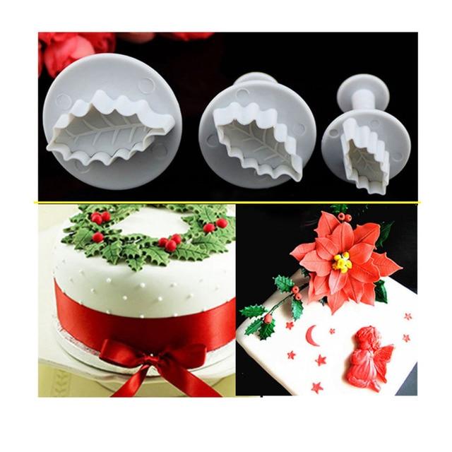 3pcs Set Christmas Rose Leaf Cake Icing Fondant Plunger Cutter