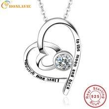 Jqueen personalizado nombre collar personalizado de plata esterlina amor del corazón aaa blanco cubic zirconia colgante collar para el regalo de la abuela
