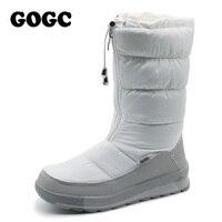 GOGC Russa Famosa Marca das Mulheres Brancas Sapatos de Inverno de Alta Qualidade Mulheres Botas de Inverno Botas de Neve Femininas das Mulheres Confortáveis sapatos