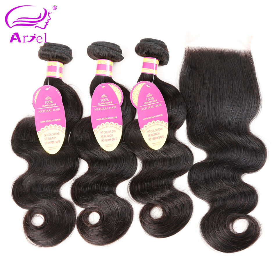 Ariel Brazilian Body Wave 3 Bundles With Closure Natural Color Hair Weave Bundles Non Remy Human Hair Bundles With Lace Closure