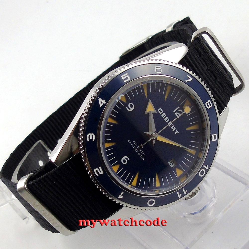 лучшая цена 41mm debert blue sandwich dial sapphire glass miyota Automatic mens Watch D13