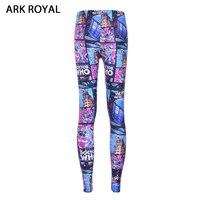 Ark Royal Graffiti Robot Comic Digital Printing Leggings Fitness Patchwork Trousers High Waist Workout Skinny Pants