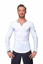 SuperStar Series:G5008 latin modern ballroom dance professional elastic crystal cotton tops shirt for men