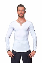 Superstar series: g5008 latina dança de salão moderno profissional de cristal elástico algodão camisa para homem