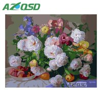 AZQSD Abstract Pink Flowers Painting By Numbers On Canvas 40x50cm Frameless Oil Painting Picture By Numbers