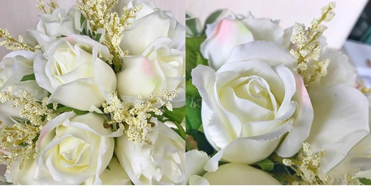 white pink silk flowers bridesmaids bridal Wedding Bouquets rose flowers (8)