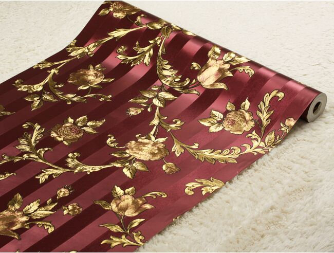 Chinese Luxury Roses Striped Wallpaper 3D Gold Foil Wallpaper Roll Living Room Bedroom TV Wallpaper For Walls 3D PVC Wall Paper nid d ange брюки roses