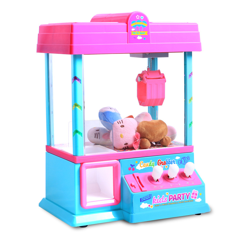 Coin Operated Candy Grabber Kids Birthday Party Favors Gift Desktop Mini Dolls Grabber Machine Claw Fun Toys for Children