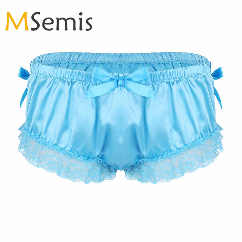 Mens Sissy Lingerie Male Underwear Satin Panties for Men Shiny Ruffled Floral Lace Bowknot Knickers Briefs Sissy Underwear