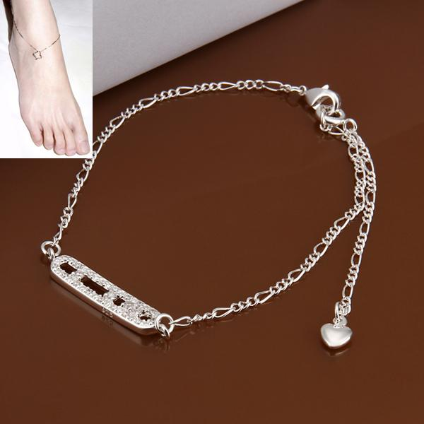 foot heel chains 2016 new women bracelet fashion 95 silver crystals barefoot sandals jewelry anklet silver