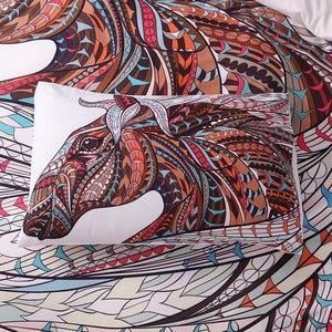 Image 4 - Horse Bedding Set HD Print Tribal Horses Duvet Cover Set Twin Full Queen King Size 3PCS Bedding