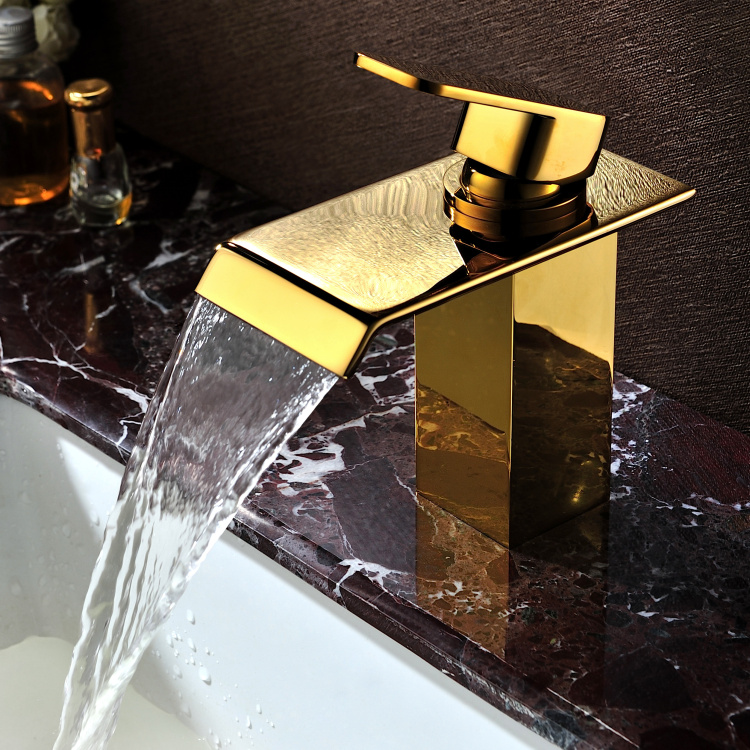 Free shipping polished gold Solid brass material Bathroom Sink waterfall Square Faucet mixer tap free shipping gold clour solid brass bathroom sink faucet new bathroom mixer tap square design